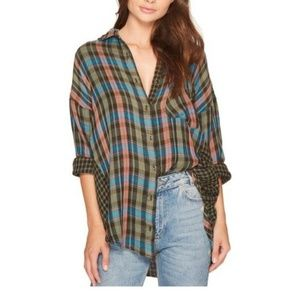 Free People One of the Guys Oversized Plaid Top
